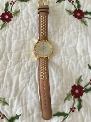 Jacqueline Kennedy Tan Leather Band Watch