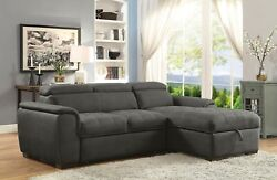 Graphite Right Storage Chaise Left Facing Sofa 2pc Sectional Set Tufted Fabric