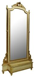 Antique Hall Mirror / Stand Louis Xvi Style Parcel Gilt Jardinere 1900and039s