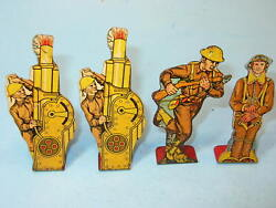 Lot Of 4 1930's Marx Tin Cork Gun Soldiers Pilot, Charging Private, 2 Howitzer