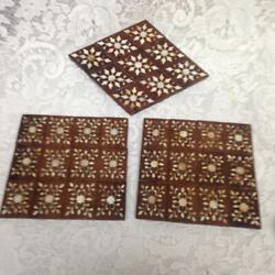 Vintage, Handcrafted, 3pc Inlaid Wood Tea Tiles Or Hot Pads