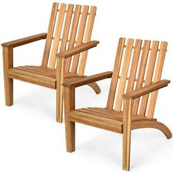 Outdoor Wooden Adirondack Chair Durable Acacia Wood Frame With Armrest Set Of 2