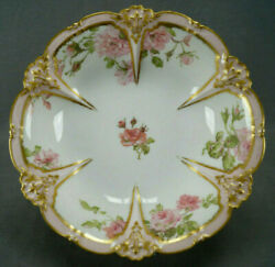 Gda Limoges Pink Roses And Gold And Relief Molded Border 9 3/4 Large Footed Bowl