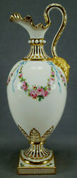 Minton Hand Painted Pink Rose Blue Bow Garlands And Gold Ewer Circa 1902-1911