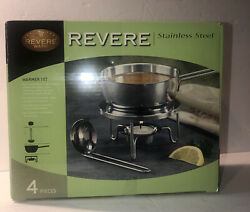 New Revere Ware Stainless Steel Warmer Set 4pc Ladle Stand Candle Warmer Butter