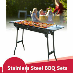 Portable Charcoal Bbq Grill Folding Barbecue Stove Camping Stainless Steel Usa