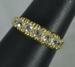Victorian 0.9ct Old Mine Cut Diamond 18ct Gold Five Stone Stack Ring