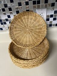 Vintage Wicker Rattan Bamboo Paper Plate Holders Set Of 10