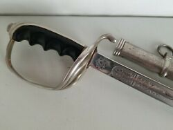 Us Army Officers Model 1902 Etched Sword With Scabbard-made In Germany