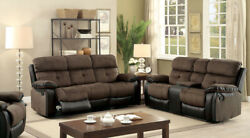 Reclining Modern Cushion Sofa And Loveseat Brown And Black Leatherette Couch