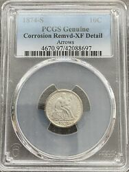 Avc- 1874-s Seated Liberty Dime Pcgs Xf Details