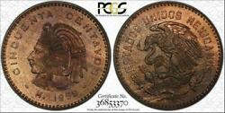 1959-mo Mexico 50 Centavos Bu Unc Pcgs Ms65rb Toned Finest Known Worldwide