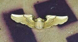 Pristine Wwii Aviator Instructor Wings U.s. Army Air Corps Handh 10 Gold Filled 2