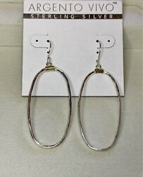 Argento Vivo Hammered Oval Drop Earrings In Two-tone Sterling Silver.