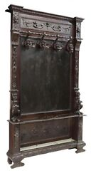 Antique Hall Tree, Italian Renaissance Revival Carved Wood, 19th C, 1800's