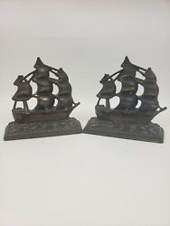 Vintage Solid Brass Sailing Ship Bookends Set Pirate Boat Ship Nautical Decor