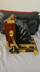 Osaka Cherry Wood Field Folding View Camera With Gold Colored Hardware