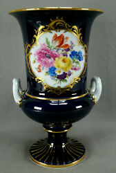20th Century Meissen Hand Painted Floral Cobalt And Gold 11 1/8 Inch Urn / Vase