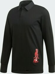 Adidas Originals Galllery Rugby Polo Shirt Black Ed9352 Menand039s Sz Large