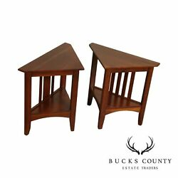 Ethan Allen American Impressions Pair Cherry Corner Side Tables