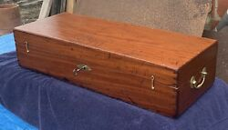 1780-1810 Federal Antique Carpenter Tool Box And Key Solid Mahogany Dovetailed