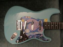 Cashified Tropical Turquoise Fender Squier Strat Van Gogh - Starry Night