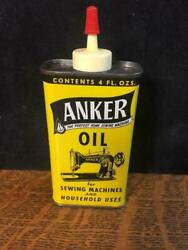 Vintage Anker Sewing Machine And Household Oil Oiler Tin Can 4 Oz Full