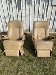 Flexsteel Rv Power Captainand039s Chairs Seats Pair Tan Motorhome Coach Used