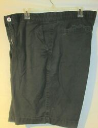 American Eagle Outfitters Mens Bermuda Shorts Black Flat Front Cotton Size 36