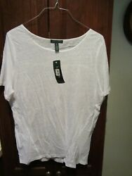Lauren Ladies Size 2x White Short-sleeve Linen New With Tags