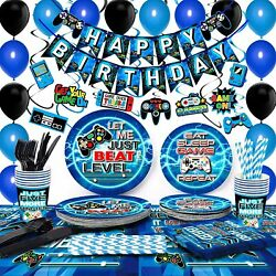 Tmcce Blue Video Gaming Party Supplies - Decorations, Cups, Plates, Napkins, Etc