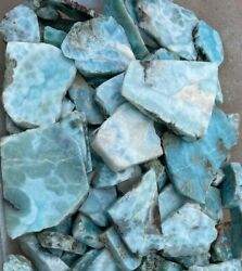 1/4 Pound Rough Larimar Dominican Republic Mixed Slabs Natural Mined Lapidary
