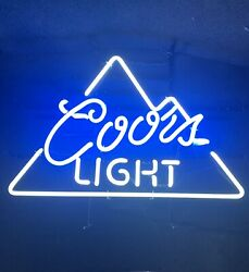 """Neon Sign Coors Light Rare Blue Coors Tube 24""""x19"""" New Transformer And Frame"""