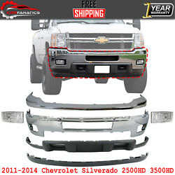 Front Bumper Chrome Kit With Fog Lights For 2011-14 Chevy Silverado 2500hd 3500