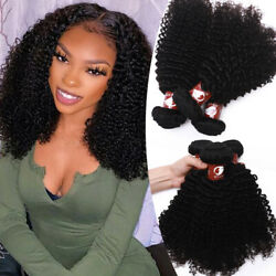 Afro Curly Virgin Peruvian Human Hair Weft Long Sew-in Weaves 300g 400g Thick Ey