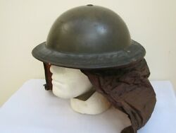 Rare Wwii British Army Steel Combat Helmet Dated 1938 And Gas Hood Cover.