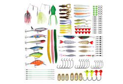 126pcs Fishing Lures Baits Tackle Kit With Box Fishing Accessories Set