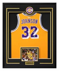 Magic Johnson Los Angeles Lakers Autographed 30x34 Framed Jersey Display