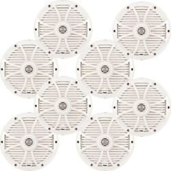 Wet Sounds Marine Bundle Four Pairs Of Sw-808 Series White Grill 8 Speakers