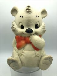 Vintage Ashland Rubber Company White Bear Squeak Squeeze Toy Red Bow