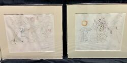 Pair Of Rare Salvador Dali Drypoint Etchings W/ Coa's - Hand Signed And Numbered