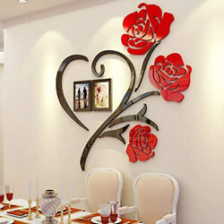 Acrylic Love Rose Wall Decals 3D DIY Photo Frame Wall Sticker Mural Home Decor