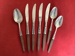Lot 7 Grand Prix Dior Muffin Stainless Wood Forged Japan Flatware Mid-century A8