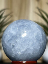 BLUE CALCITE SPHERE Natural Mineral Reiki Chakra Crystal Witch Orb Yoga Decor