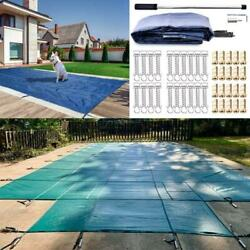 Pool Safety Cover Rectangle Winter In-ground Swimming Pool Mesh Cover Blue Green