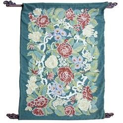 Furniture, Floral Tapestry, Wool Tapestry With Wooden Handles