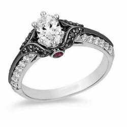1.25ct Oval Diamond Evil Queen Engagement Ring In 14k White Gold