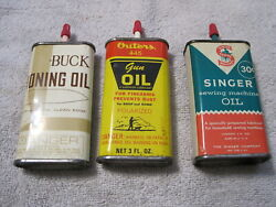 Oil Tins 3 Can Lot Outers Gun Oil, Buck Honing Oil And Singer Oil