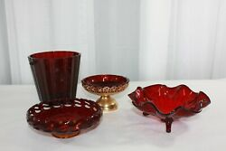 Vintage Ruby Red Pressed Glass Candy Dishes And Ice Bucket Set Of Four