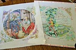 2 Edie And Ginger Needlepoint Canvases Jack And The Beanstalk And Rumpelstiltskin